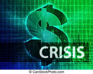 Crisis Finance illustration, dollar symbol over financial...