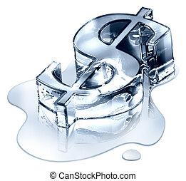 Crisis finance - the dollar symbol in melting ice -...