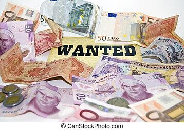 crisis., geld, economisch, wanted.