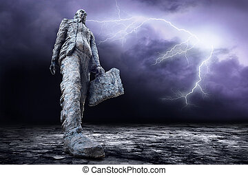 Crisis in world on dark sky with lightning