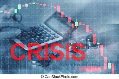 crisis., inscription, économique, récession, financier, concept.