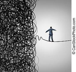 Crisis Management business concept as a tightrope walker ...
