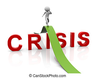 3d man running over the text 'crisis'. Concept of problem solving, crisis management etc.