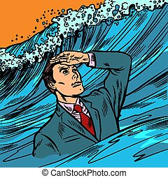 Crisis Manager. businessman leader looks far ahead. Pop art ...