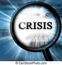 crisis on a blue background with a magnifier on top