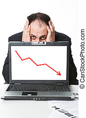 Crisis - Photo of middle aged employer hiding behind laptop ...