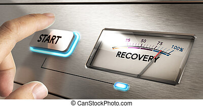 Finger about to press a start button with a dial where it is written the word recovery. Concept image for illustration of crisis or disaster recovery plan.
