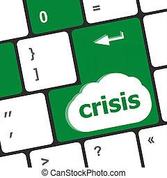 crisis risk management key showing business insurance concept