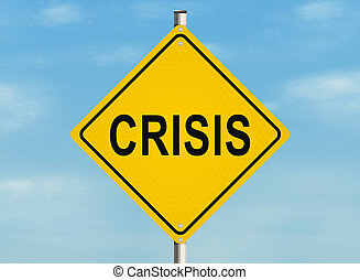 Crisis. Road sign on the sky background. Raster illustration...