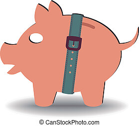 crisis savings - illustration of a piggy bank with a belt