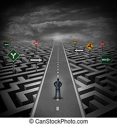 Crisis solution concept as a businessman standing on a straight road through a maze or labyrinth with confusing direction road signs as a metaphor for finding the answer to a riddle as a clear strategy to overcome difficulties in business and the problems of life.