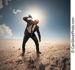 Crisis - Concept of crisis with businessman with empty...