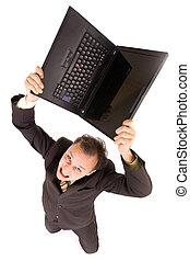 crisis: upset businessman - very upset businessman breaking...