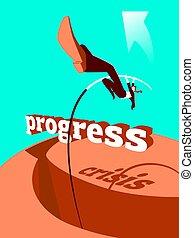 crisis., vault., 棒, progress., 克服