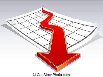Crisis - Vector illustration - Business crisis diagram