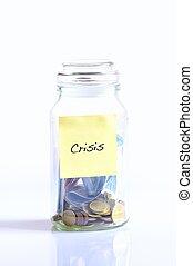 crisis., verre, pièces, pot