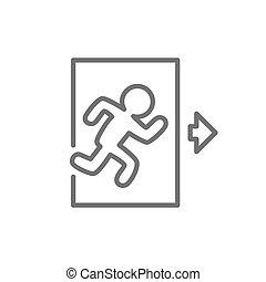 crisis voorteken, rennende , afslaf, lijn, uit, icon., man