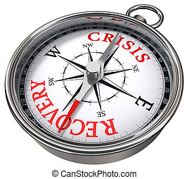 crisis versus recovery concept compass isolated on white background