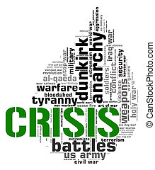 Crisis Word Shows Hot Water And Catastrophe