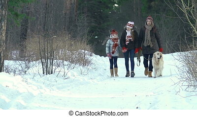 Crisp Air - Family of three walking with dog through the...