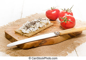 crisp bread with cottage cheese and chia seed