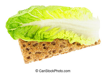 Crisp Bread With Lettuce Leaf Low Calorie Diet Food - Crisp...