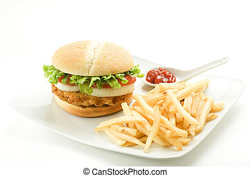 crisp chicken burger with tomato onion cheese lettuce ...