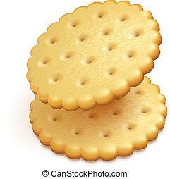 crisp cookies snacks isolated - two crisp cookies snacks...