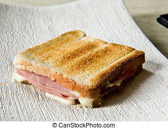 Crisp toasted ham and cheese sandwich
