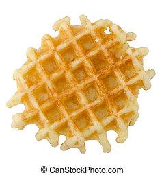 Crisp waffle isolated on white background.