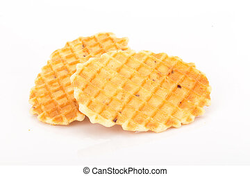 Crisp waffle on white background