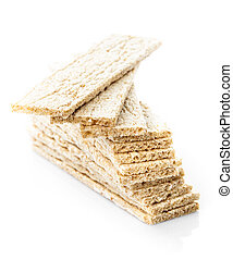 Crispbread - healthy eating for diet, on white backgorund