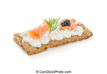Crispbread with salmon and shrimp