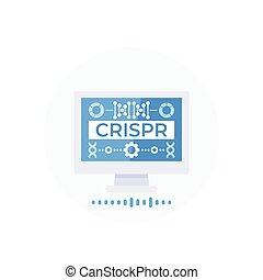 crispr, redaktion, technologie, vektor, genom