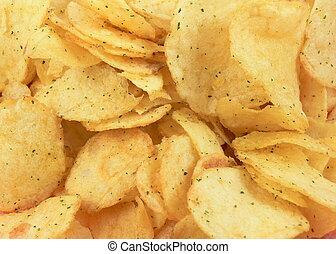 Crisps - Golden potato crisps background