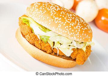 Crispy chicken burger close-up