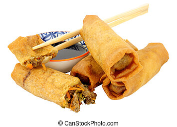 Crispy Chinese Duck Filled Spring Rolls