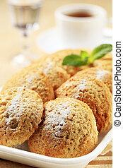Crispy cookies - Rows of crispy cookies in styrofoam...
