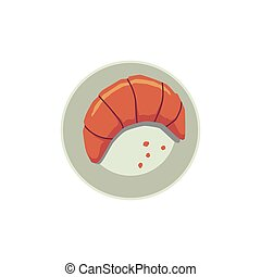 Crispy croissant on plate, flat cartoon vector illustration isolated on white.