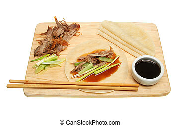 Crispy duck and pancakes