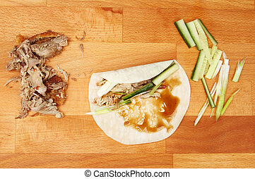 Crispy duck pancake ingredients