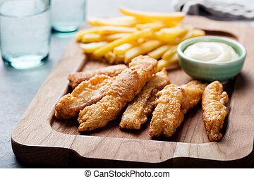 Crispy Fish and Chips, Tartar Sauce. British food - Crispy...