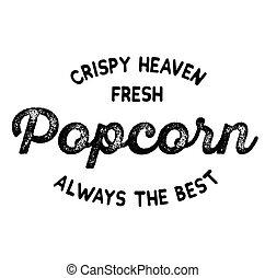 crispy fresh popcorn label