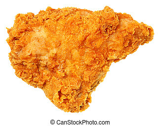 Crispy Fried Chicken Breast Isolated Over White