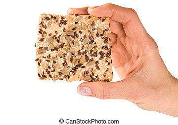 crispy, girassol, isolado, mão, sementes sesame, fundo, branca, linho, pão