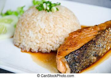 crispy grilled salmon steak. - crispy grilled salmon steak ...