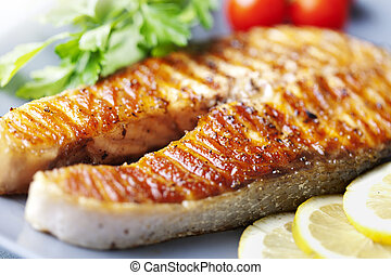 grilled salmon steak - crispy grilled salmon steak with...