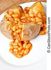 crispy, quentes, batata assada