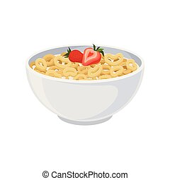 Crispy rings with milk in a ceramic bowl close-up. Vector illustration on white background.