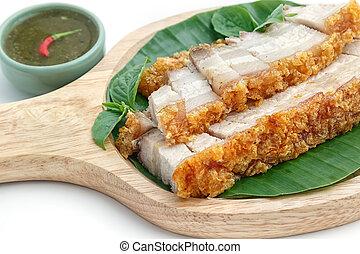 crispy roasted pork on white background